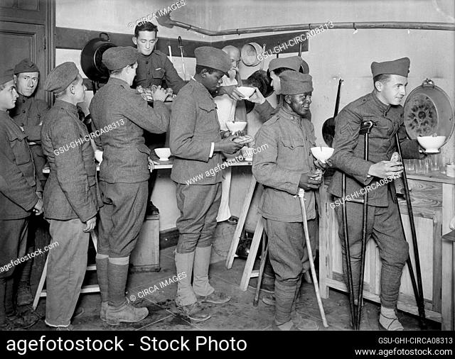 Convalescent American Soldiers receiving Food in Recreation Tent at American Military Hospital No. 5, supported by American Red Cross, Auteuil, France