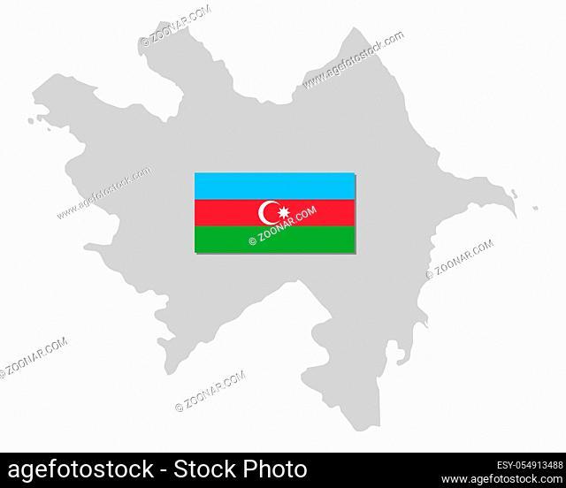 Fahne und Landkarte von Aserbaidschan - Flag and map of Azerbaijan