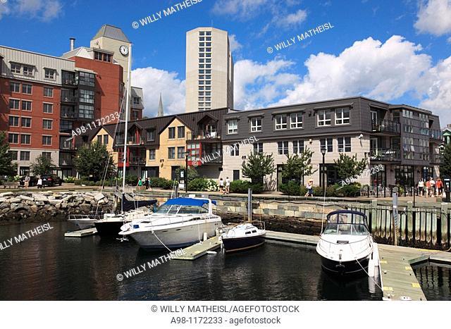 Marina with boats in the city of Halifax Boardwalk, Nova Scotia, Canada