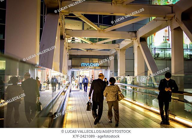 Bridge, in Koshukaido Avenue, in front of Shinjuku JR station, Shinjuku, Tokyo