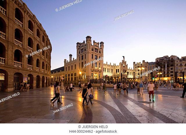 Plaza de Toros, bullfighting arena, railway station , Valencia, Spain