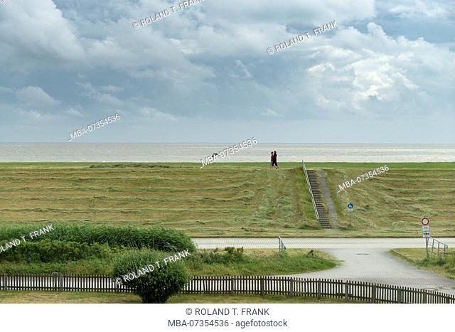 Germany, Lower Saxony, East Frisia, Juist, view over the dike to the Wadden Sea
