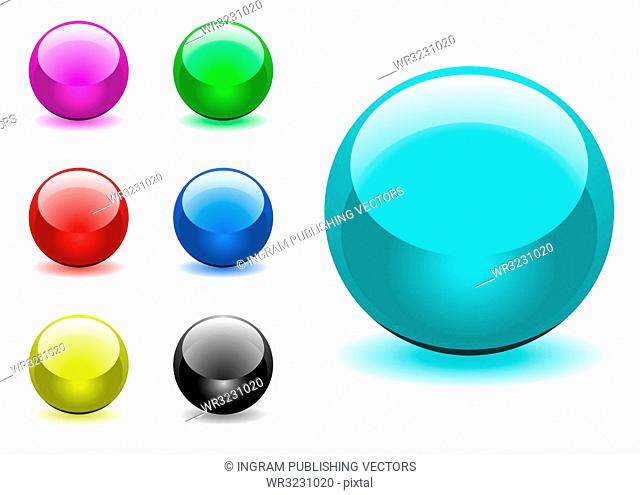 Collection of seven round gel filled icon buttons