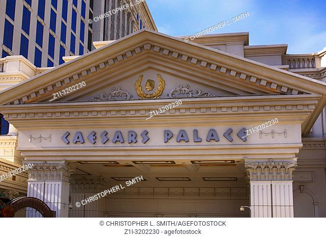 The Caesars Palace Hotel overhead sign on the strip in Las Vegas, Nevada