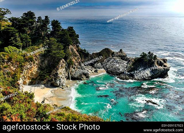 McWay Falls is an 80-foot-tall waterfall on the coast of Big Sur in central California