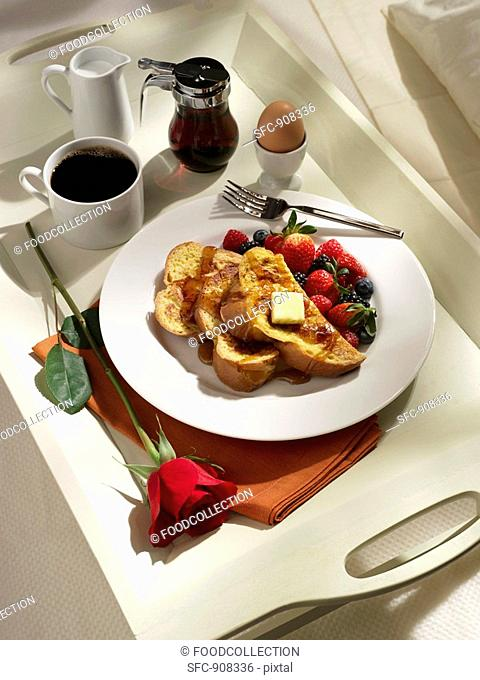 Breakfast Tray with French Toast, Strawberries, Boiled Egg and Coffee