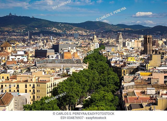 View of Las Ramblas in Barcelona Catalonia Spain