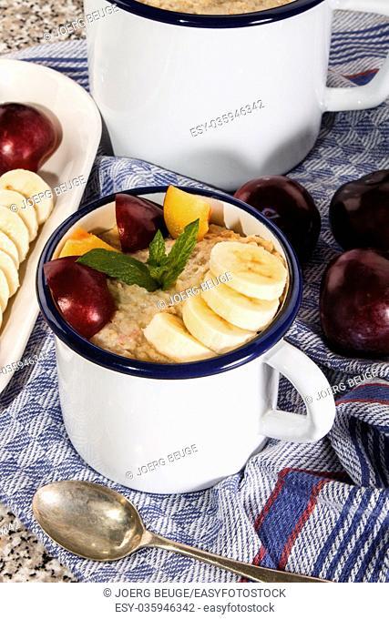 healthy porridge, scottish breakfast with plum and banana