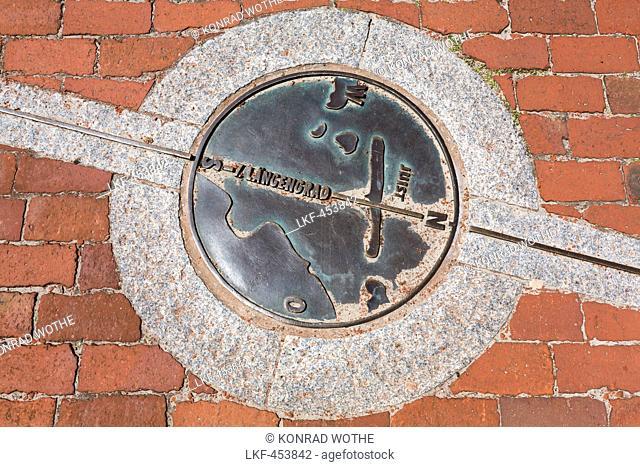 Plaque for the Seventh Longitude on the promenade, Juist Island, Nationalpark, North Sea, East Frisian Islands, East Frisia, Lower Saxony, Germany, Europe