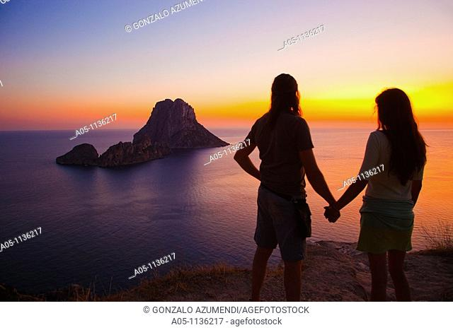 Sunset in es Vedra. Sant Josep de sa Talaia. Ibiza. Balearic Islands. Spain