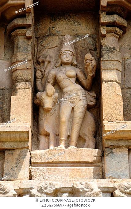 Ardhanarisvara beside his bull, niche on the southern wall of the mukhamandapa, Brihadisvara Temple, Gangaikondacholapuram, Tamil Nadu, India