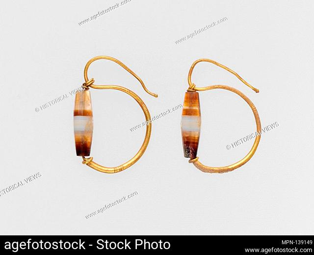 Gold earring with agate bead. Period: Late Republican-Early Imperial; Date: late 1st century B.C.-2nd century A.D; Culture: Roman; Medium: Gold