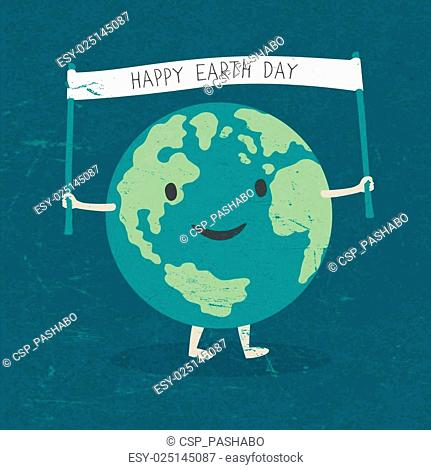 Cartoon Earth Illustration. Planet smile and hold banner with Happy Earth Day words. On old paper texture. Grunge layers easily edited