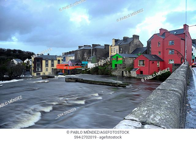 View of the houses and Cullenagh river in Ennistymon, Clare county, Ireland