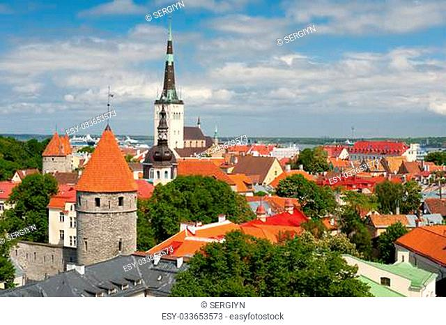 Historic buildings in Old Town of Tallinn, Estonia. GPS information is in the file
