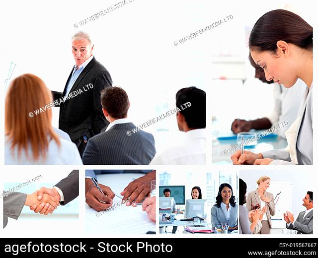 Business people attending to meetings