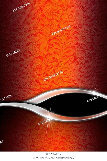 Red and orange texture with ornate floral seamless with metal wave and black background