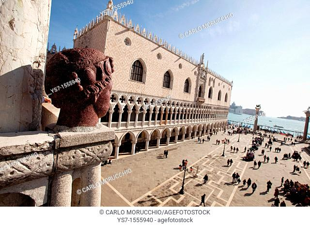 View over Saint Mark's square and the Doge's palace from the Saint Mark's cathedral balcony, Venice, Italy, Europe