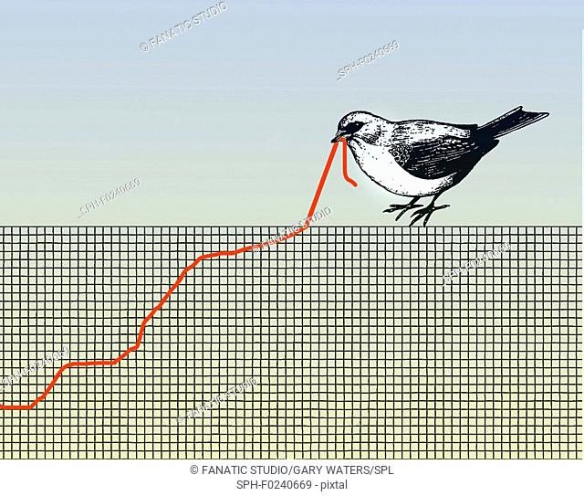 Conceptual illustration of a bird pulling at a graph that resembles a worm depicting struggle