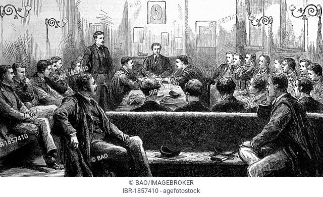 The Magpie and Stump debating society, Trinity College, Cambridge, England, historic image, 1883