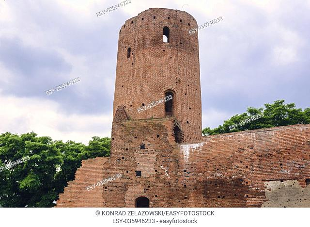 Tower of gothic castle of the Masovian Dukes located in Czersk village, Masovian Voivodeship in Poland