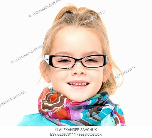Little Girl in Eyeglasses Posing, on white background