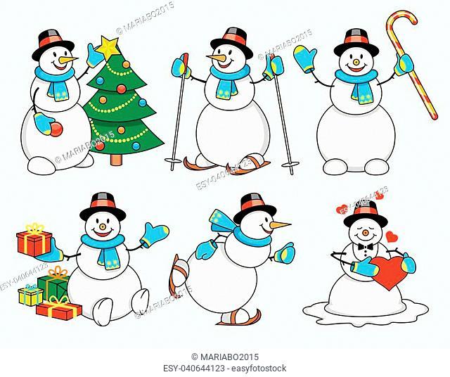 Set of winter cartoon snowman isolated illustration