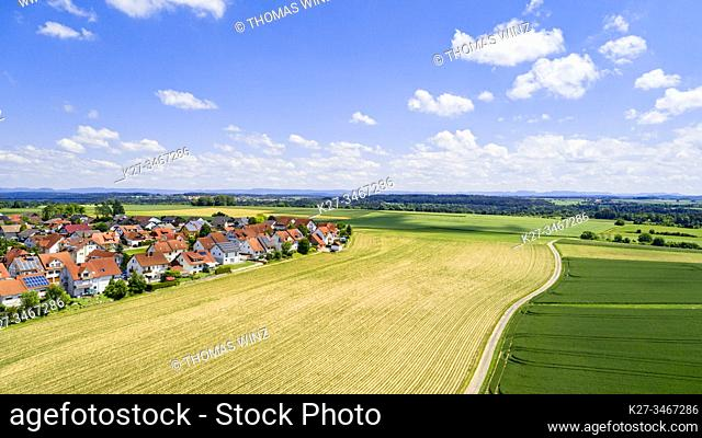 New homes next to agricultural fields and path from above, Baden Württemberg, Germany