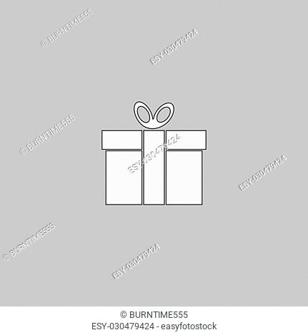 Gift box Simple line vector button. Thin line illustration icon. White outline symbol on grey background