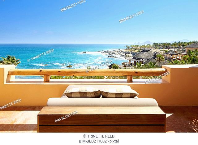 Balcony overlooking ocean, Cabo San Lucas, BCS, Mexico