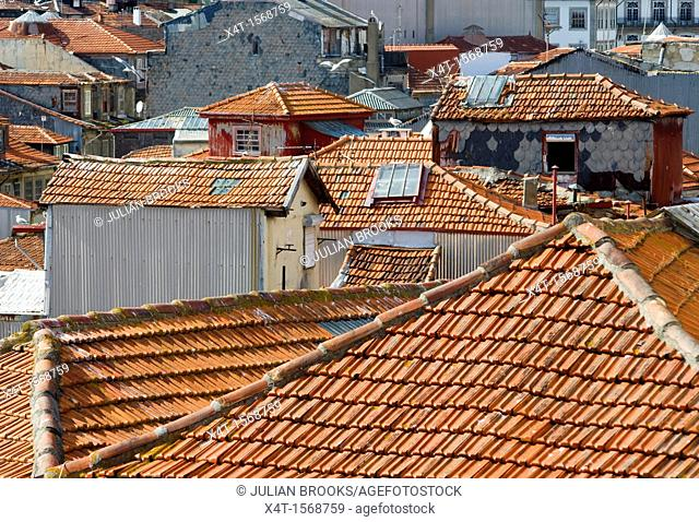 pantile rooftops in Porto, portugal