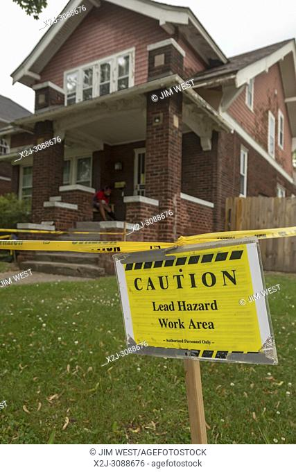 Detroit, Michigan - A sign warns of a lead hazard in a Detroit house