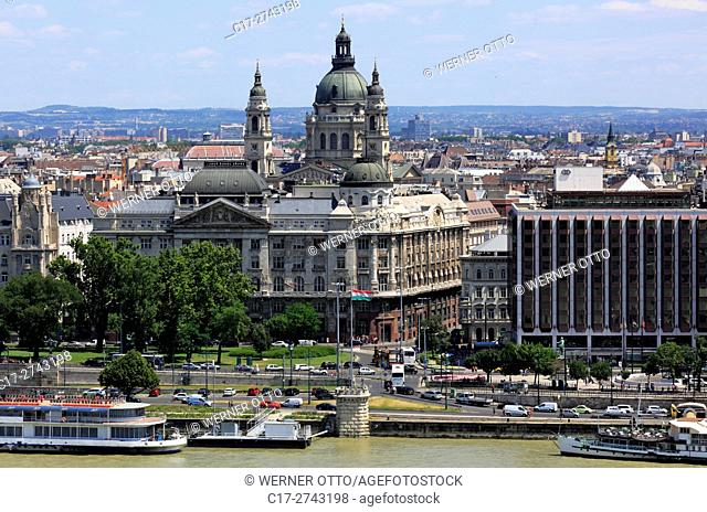 Hungary, Central Hungary, Budapest, Danube, Capital City, panoramic view from Buda across the Danube to Pest, ahead the interior ministry, behind the St
