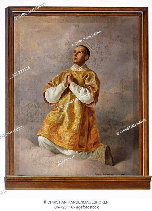 Painting of St. Laurence at the church in Hernstein, Triesingtal (Triesing Valley), Lower Austria, Austria, Europe