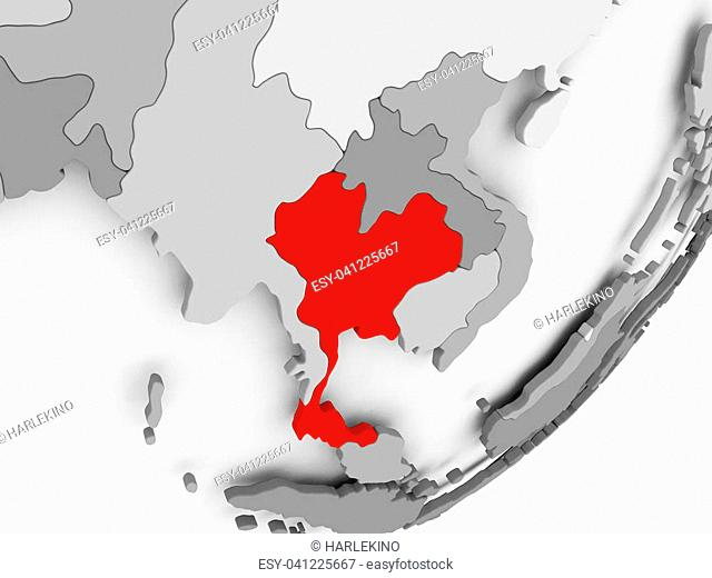 Illustration of Thailand highlighted in red on grey globe. 3D illustration
