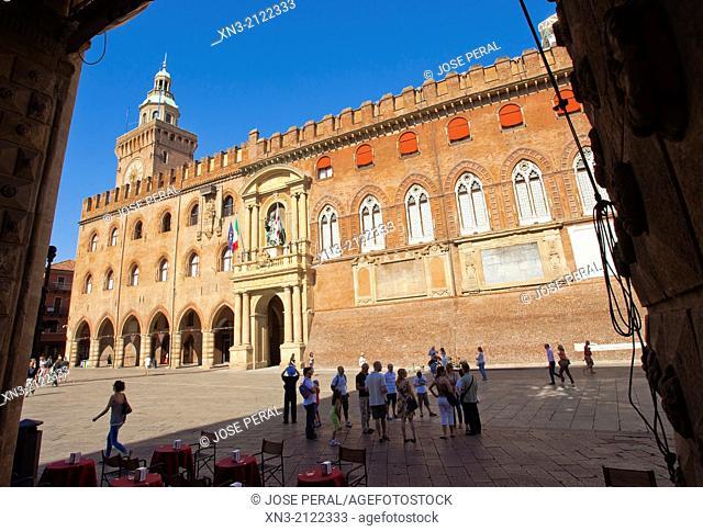 Palazzo d'Accursio or Palazzo Comunale is a palace, Piazza Maggiore, Bologna, Emilia-Romagna, Italy, Europe