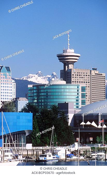 Skyline of downtown buildings, with BC and GM place, Vancouver, British Columbia, Canada