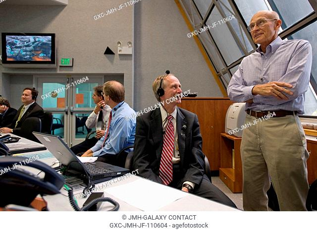 Retired NASA Launch Director, Robert Sieck, right, talks with Associate Administrator for Space Operations, Bill Gerstenmaier in firing room four at the Kennedy...