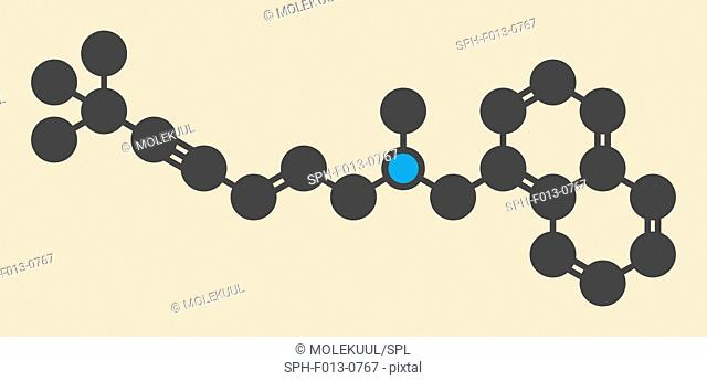 Terbinafine antifungal drug molecule. Stylized skeletal formula (chemical structure). Atoms are shown as color-coded circles: hydrogen (hidden), carbon (grey)