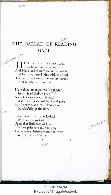The Ballad of Reading Gaol. Three printed verses. Image taken from The Ballad of Reading Gaol. Originally published/produced in 1898