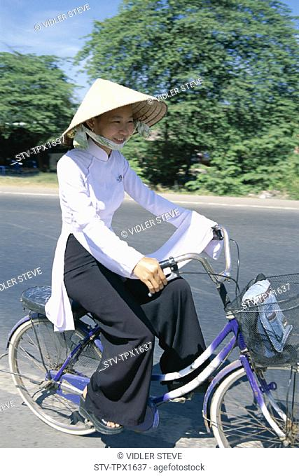 Ao dai, Asia, Bicycle, Conical, Dress, Hat, Holiday, Landmark, Mekong delta, Student, Tourism, Traditional, Travel, Vacation, Vi