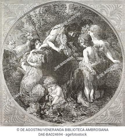Fesule fairies, scene from Florentine mythology, Ferragosto giving flute lessons, illustration from Il Giornale Illustrato, Year 2, No 36, September 9-15, 1865