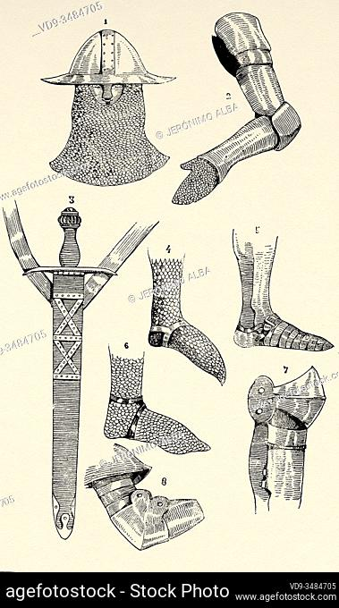 Middle Ages. Clothing and everyday objects of the knight. Parts war armor and sword. Old engraving illustration from the book Historia Universal by Cesar Canti...