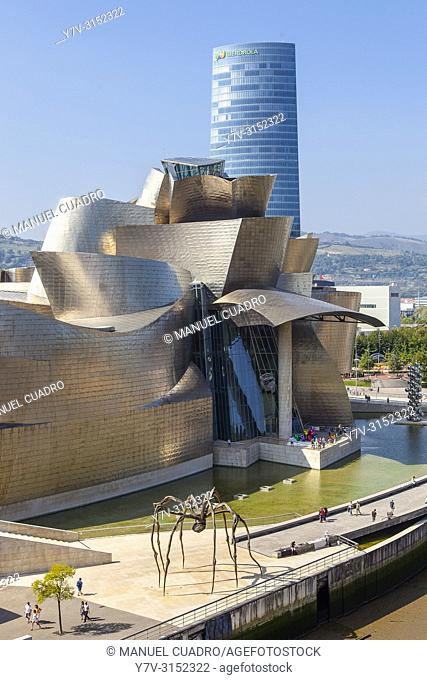 Torre Iberdrola and Guggenheim Museum. Bilbao, Biscay, Basque Country, Spain