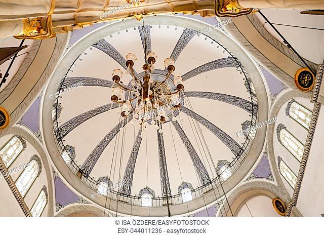Interior view of Emir Sultan Mosque at Emir Sultan Complex or Sultan Complex, a mosque complex in Bursa, Turkey. 20 May 2018