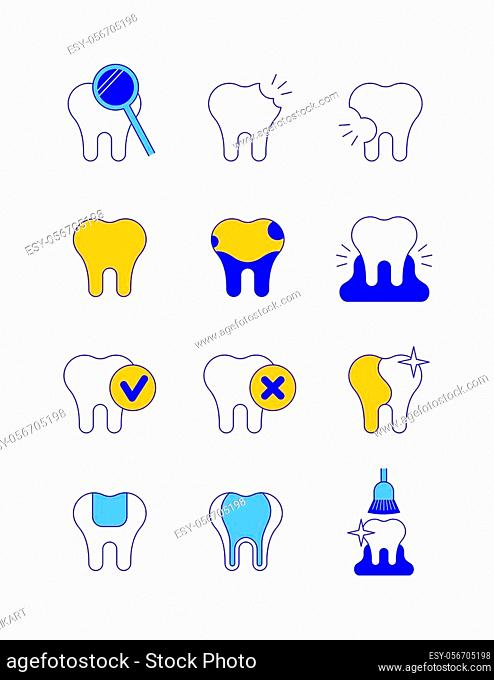 Dental diseases and treatment thin line vector icons. Caries, stained teeth, gingivitis symbols. Chek marks on tooth, whitening, filling