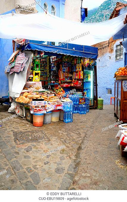 Grocery store, Kasbah, Chefchaouen, the blue pearl, village northeast of Morocco, North Africa, Africa