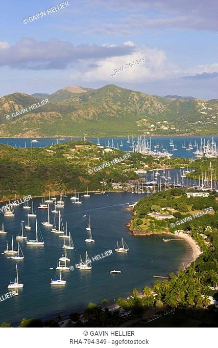 Elevated view of English Harbour from Shirley Heights looking towards Nelson's Dockyard, Antigua, Leeward Islands, West Indies, Caribbean, Central America
