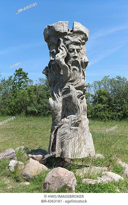 Cult place with a replica of a Svantevit statue, idol of Slavs with four heads, Jaromarsburg, Kap Arkona, Rügen Island, Mecklenburg-Western Pomerania, Germany
