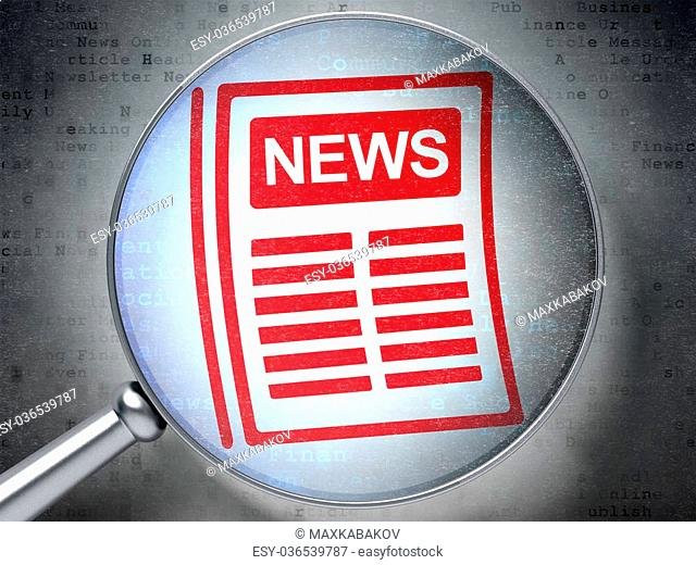 News concept: magnifying optical glass with Newspaper icon on digital background, 3D rendering